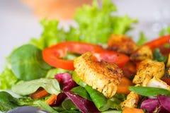 Chicken on salad Royalty Free Stock Photo
