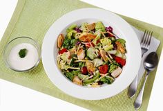 Chicken salad. Roasted chiken pieces on fresh salad, served in white plate, table mat underneet and dressing ,fork on side Stock Photos