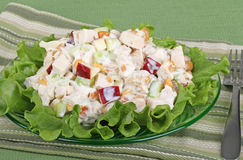 Chicken Salad. With apple pieces on top of lettuce Stock Photo