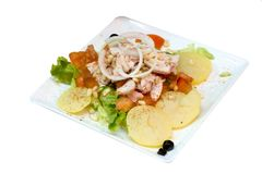 Chicken salad. On a white background Stock Image