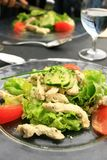Chicken salad. Two chicken salad platter at the restaurant Royalty Free Stock Images