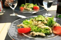 Chicken salad. Two chicken salad platter at the restaurant Royalty Free Stock Photos