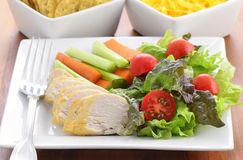 Chicken with salad Royalty Free Stock Photos