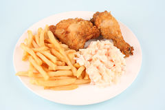 Chicken and salad. Fast Food Images Chicken and chips Stock Images