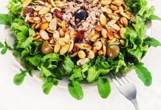 Chicken salad with almonds and olives Stock Photo