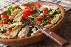 Chicken salad with avocado, arugula and tomato closeup. horizont Royalty Free Stock Image