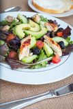Chicken salad with avocado, mixed greens, cucumbers, tomatoes, and olives. Stock Photos