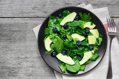 Chicken salad with avocado, spinach and blueberries in black plate with fork Stock Image