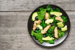 Chicken salad with avocado, spinach and blueberries Royalty Free Stock Image