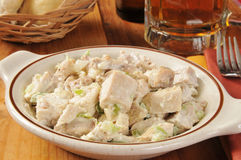 Chicken salad and beer Stock Photos
