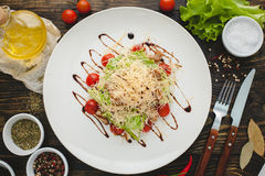 Chicken Salad with Cheese. Healthy Grilled Chicken Caesar Salad with Cheese and Croutons Royalty Free Stock Photography