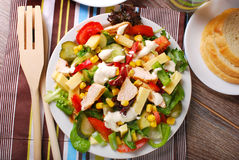 Chicken salad with cheese and vegetables. Grilled chicken salad with cheese,vegetables and garlic sauce Stock Image