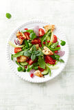 Chicken salad with cherry tomatoes and pomegranate seeds Stock Photos