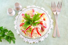 Chicken salad with chicken fillet, paprika, cheese, eggs, onion, served with yogurt. Healthy eating concept. Simple cooking. Chicken salad with chicken fillet Royalty Free Stock Photos