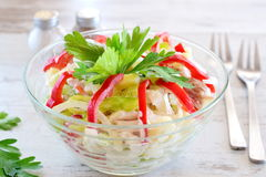 Chicken salad with chicken fillet, paprika, cheese, eggs, onion, served with yogurt. Healthy eating concept. Simple cooking. Chicken salad with chicken fillet Stock Photos