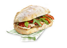 Chicken and salad ciabatta sandwich with clipping path royalty free stock image