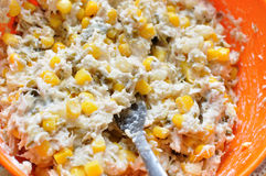 Chicken salad with corn Stock Photography