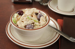 Chicken salad. A cup of chicken salad with grapes and celery stock photography