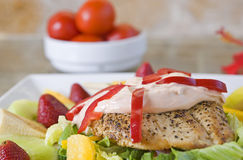 Chicken salad with dressing royalty free stock image