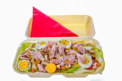 Chicken salad with eggs and ham Royalty Free Stock Images
