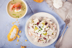 Chicken salad with grapes, apples and cranberries Royalty Free Stock Photos