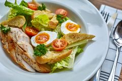Chicken salad with leaf vegetables, chard, eggs, bulgur and cherry tomatoes. Royalty Free Stock Photos