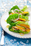 Chicken salad on lettuce leaves Stock Photography