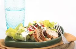 Chicken salad for lunch. Grilled chicken salad with dressing royalty free stock image