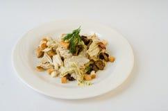Chicken salad, mushrooms, bread croutons Royalty Free Stock Photo
