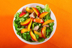 Chicken salad with peaches Stock Photo
