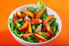 Chicken salad with peaches Royalty Free Stock Image