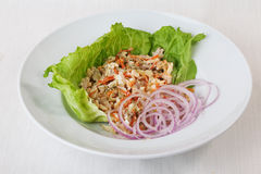 Chicken salad, pickled cucumber and carrot on lettuce red onion round saucer top menu Series Royalty Free Stock Images