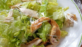 Chicken Salad With Plastic Wrap For Freshness Royalty Free Stock Images