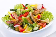 Chicken salad. In the plate close up royalty free stock photos