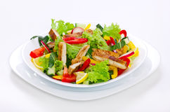 Chicken salad. In the plate close up stock photography