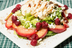 Chicken salad with plums and raspberries Royalty Free Stock Image