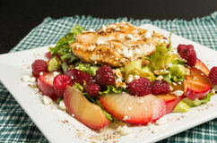 Chicken salad with plums and raspberries Royalty Free Stock Photos