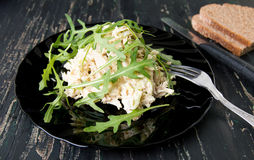 Chicken salad with rucola on a plate Stock Image