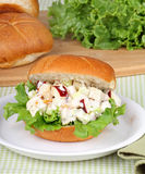 Chicken Salad Sandwich. Chicken salad with apple pieces and lettuce on a bun Royalty Free Stock Image