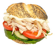 Chicken And Salad Sandwich Roll Royalty Free Stock Image
