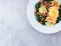 Chicken salad with spinach and grapefruit Stock Image