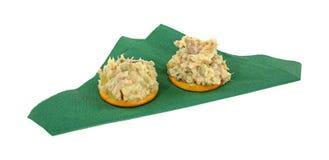 Chicken Salad Spread Crackers Stock Photo