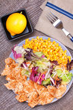 Chicken salad with sweet corn and green mix Royalty Free Stock Image