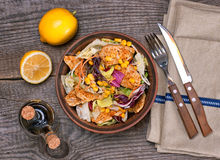 Chicken salad with sweet corn and green mix, top view royalty free stock photos