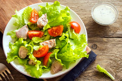 Chicken salad with tomatoes Royalty Free Stock Image