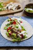 Chicken and salad tortilla Royalty Free Stock Image