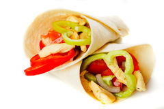 Chicken salad in tortilla wraps. Isolated on white background Stock Images