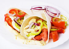 Chicken salad in tortilla wraps Royalty Free Stock Photos