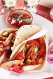 Chicken salad in tortilla wraps Stock Images
