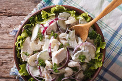 Chicken salad with vegetables close up in a bowl. Horizontal top Stock Photos